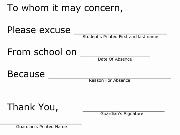 School Note for Being Absent Inspirational for Students Student Information