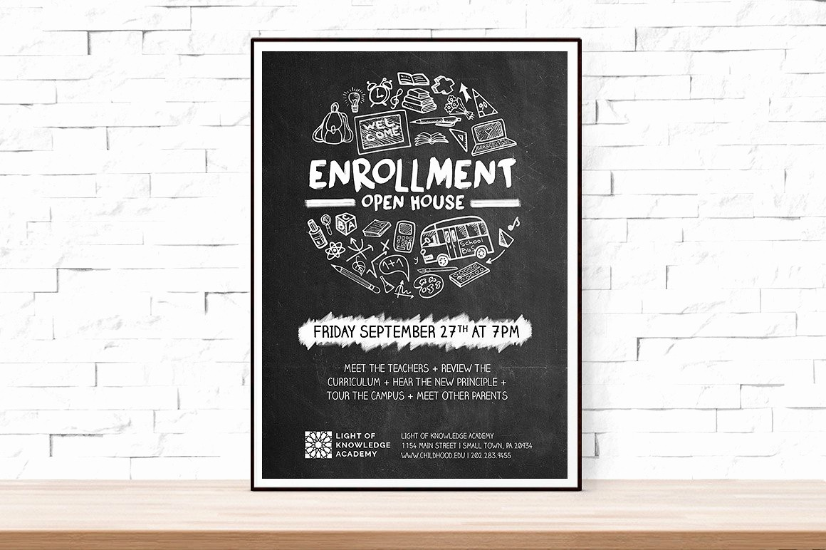 School Open House Flyer Template Awesome School Open House Flyer Flyer Templates Creative Market