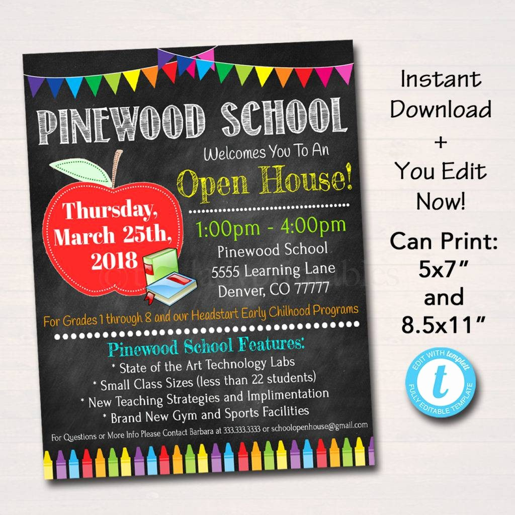 School Open House Flyer Template Beautiful 16 Open House Flyer Designs & Examples – Psd Ai