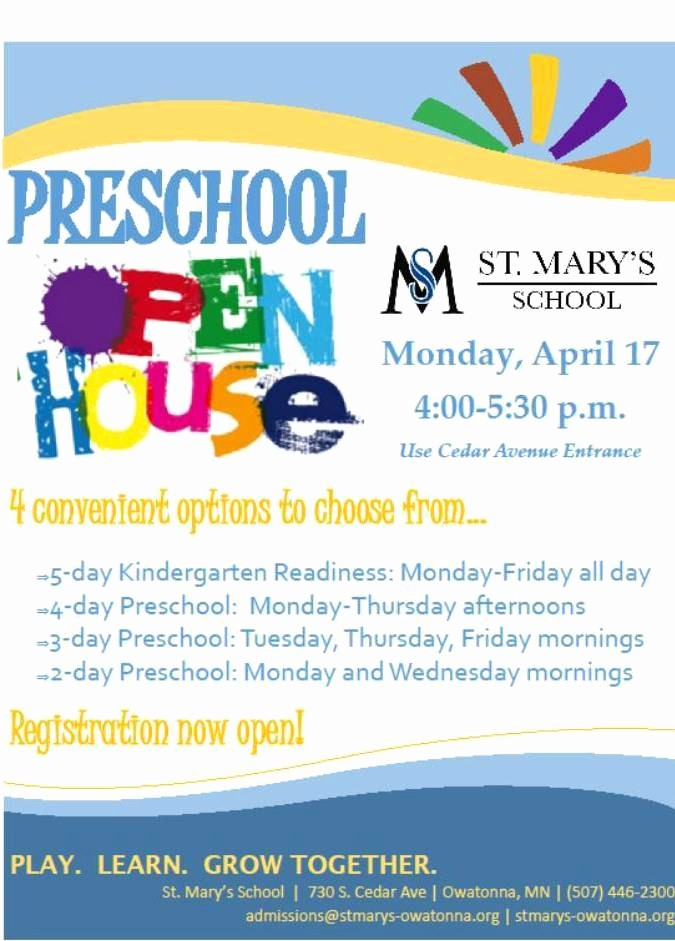 School Open House Flyer Template Elegant Preschool Open House Flyer Template aslitherair