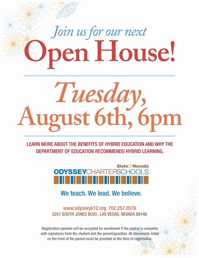 School Open House Flyer Template Inspirational Odyssey Charter Schools
