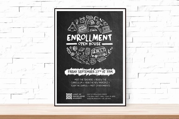 School Open House Flyer Template New School Open House Flyer Flyer Templates Creative Market