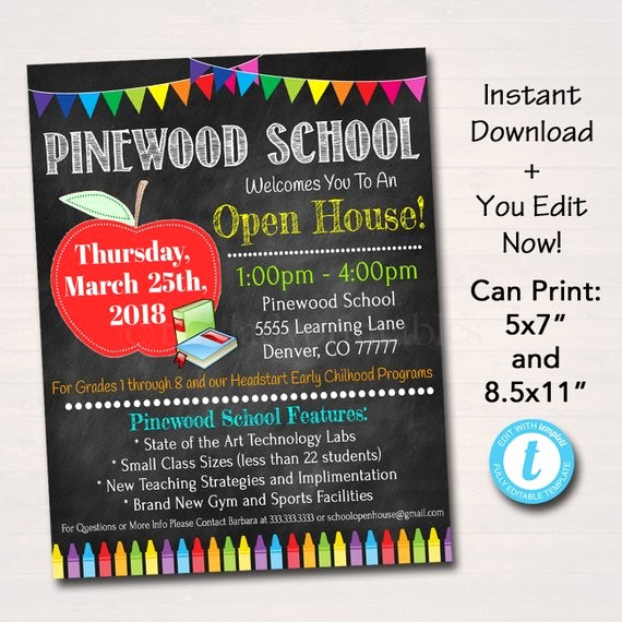 School Open House Invitations Templates Awesome Editable School Open House Flyer Printable Pta Pto Flyer