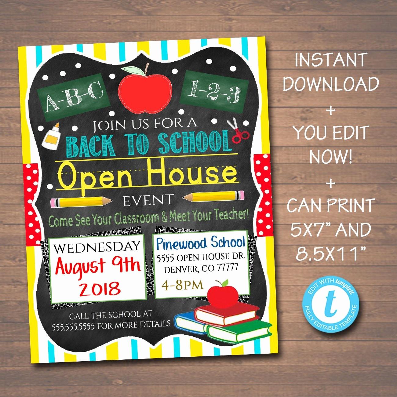 School Open House Invitations Templates Elegant Editable School Open House Flyer Printable Pta Pto Flyer