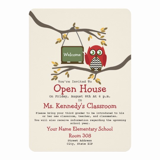 School Open House Invitations Templates Elegant Owl Back to School Classroom Open House Invite