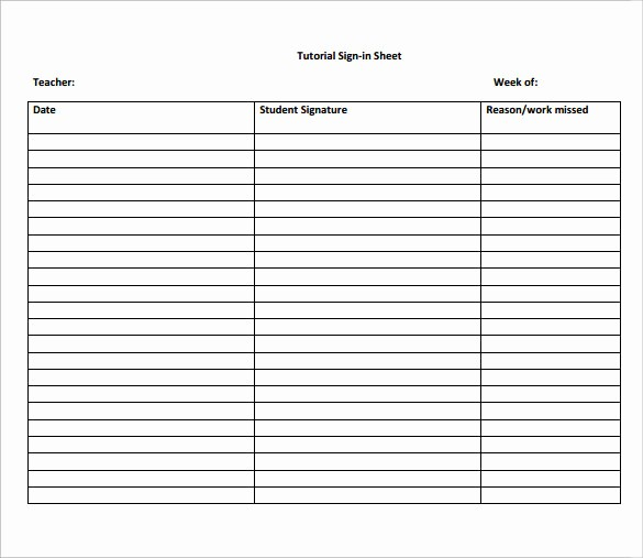 School Sign In Sheet Template Inspirational 12 Sample School Sign In Sheets