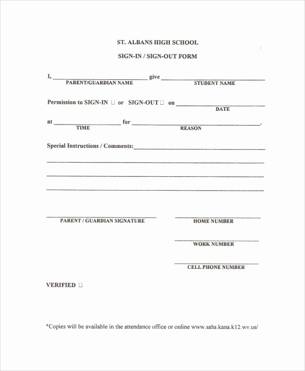 School Sign In Sheet Template Lovely 10 School Sign Out Sheet Templates