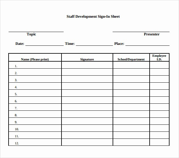 School Sign In Sheet Template Unique Sample School Sign In Sheet 11 Download Documents In Pdf