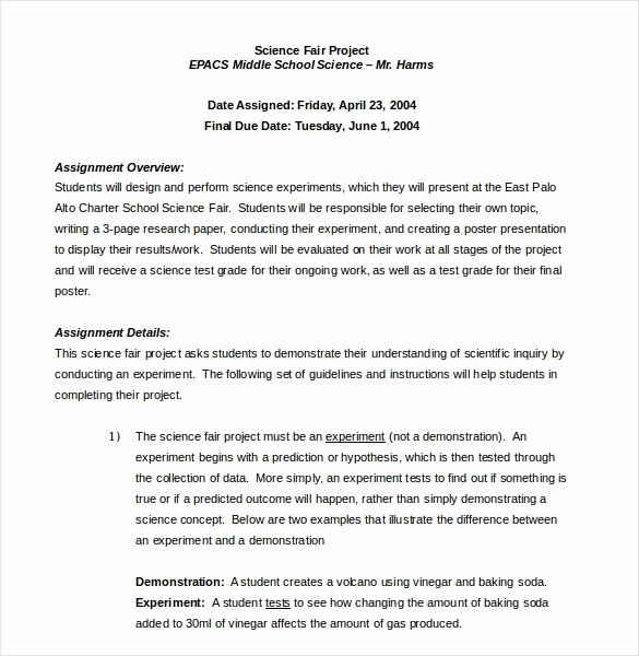 Science Fair Project Template Word Unique 15 Word Project Templates Free Download