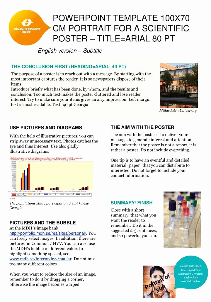 Scientific Poster Template Powerpoint Free Awesome Ppt Powerpoint Template 100x70 Cm Portrait for A