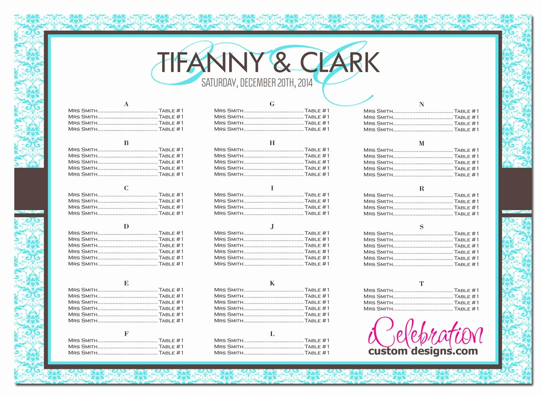 Seating Chart Wedding Template Free Beautiful Sample Seating Chart for Wedding Reception