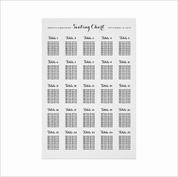 Seating Chart Wedding Template Free Elegant 34 Wedding Seating Chart Templates Pdf Doc