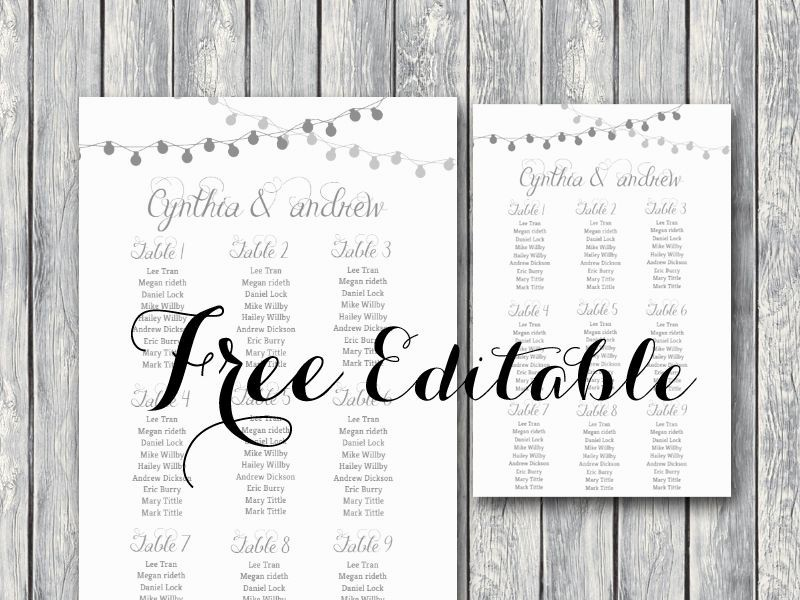 Seating Chart Wedding Template Free Unique Free Night Light Wedding Chart Printable In 2019