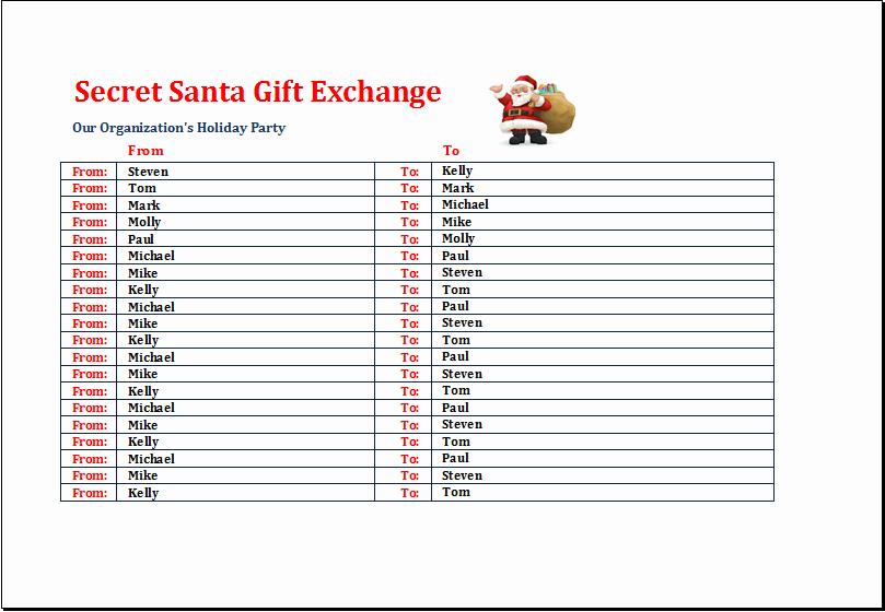Secret Santa Gift Exchange Template Awesome Secret Santa Gift Exchange List Template