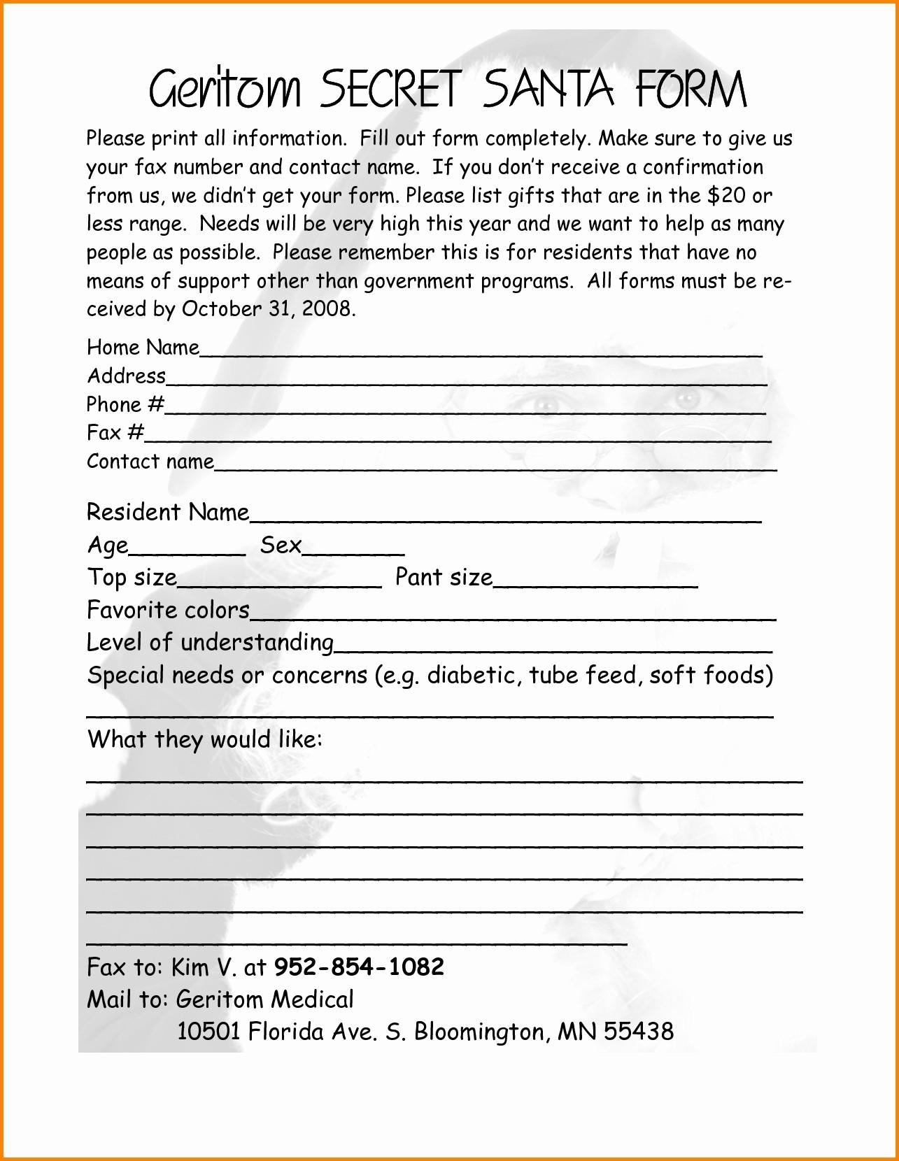 Secret Santa Gift Exchange Template Beautiful Secret Santa Gift Exchange forms Questionnaire with Regard