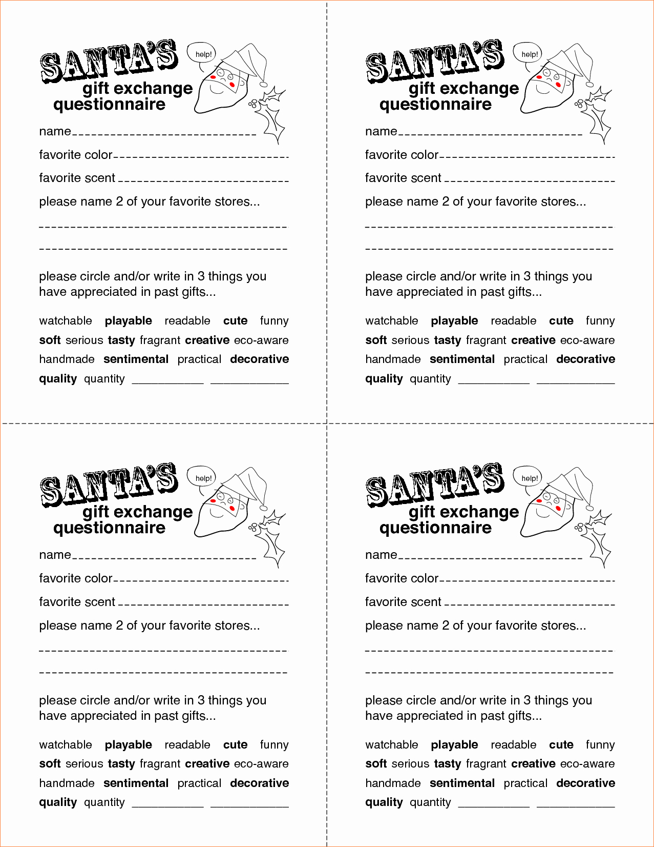 Secret Santa Gift Exchange Template Fresh 5 Secret Santa Questionnaire Templatereport Template
