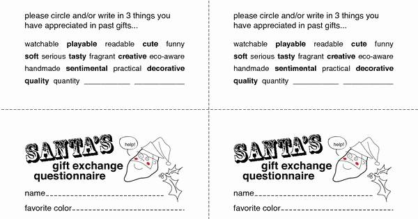 Secret Santa Gift Exchange Template Lovely Secret Santa Gift Exchange forms