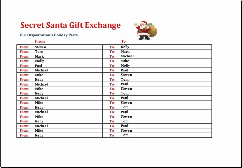 Secret Santa Gift Exchange Template Luxury Pollyanna Gift Game Gift Ftempo