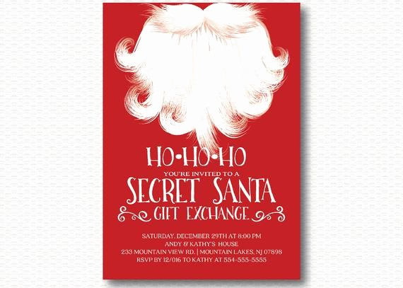 Secret Santa Gift Exchange Template Luxury Secret Santa Invitation Holiday Party Gift Exchange