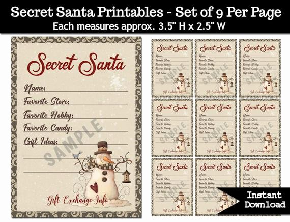 Secret Santa Gift Exchange Template Unique Secret Santa Gift Exchange Printable Pdf Christmas Party