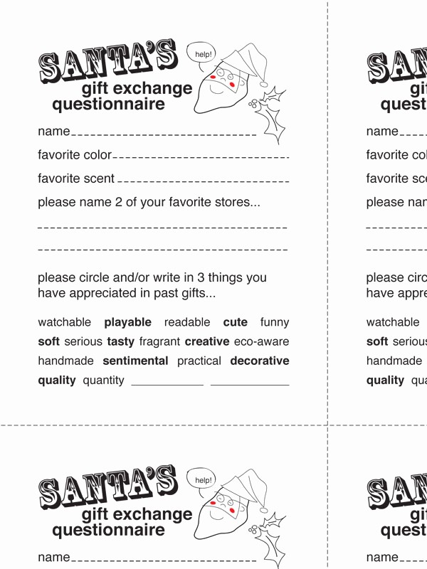 Secret Santa List for Work Awesome 15 Best S Of Secret Santa Gift Questionnaire Secret