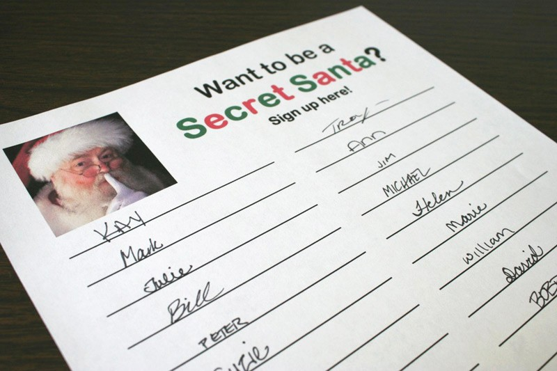 Secret Santa List for Work Elegant Secret Santa Sign Up Sheet