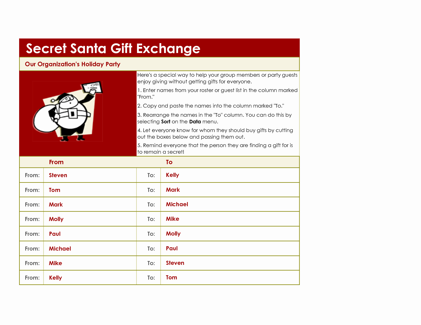 "Secret Santa List for Work Lovely Search Results for ""gift Exchange Sign Up Sheet"