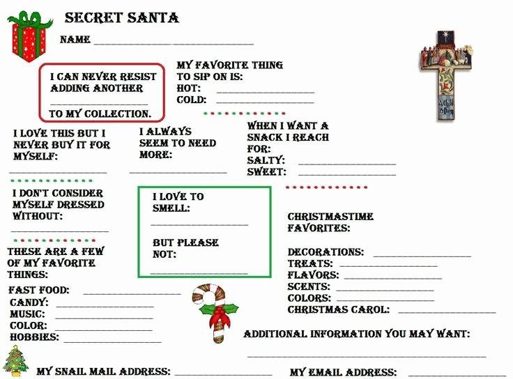 Secret Santa List for Work New Secret Santa Questionnaire Secret Santa and Templates On