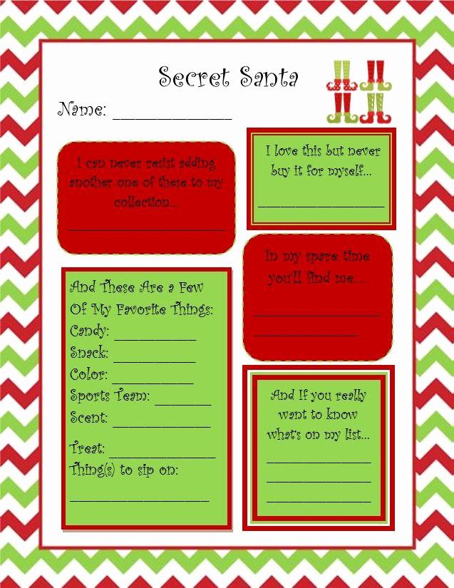Secret Santa List for Work Unique Secret Santa Questionnaire