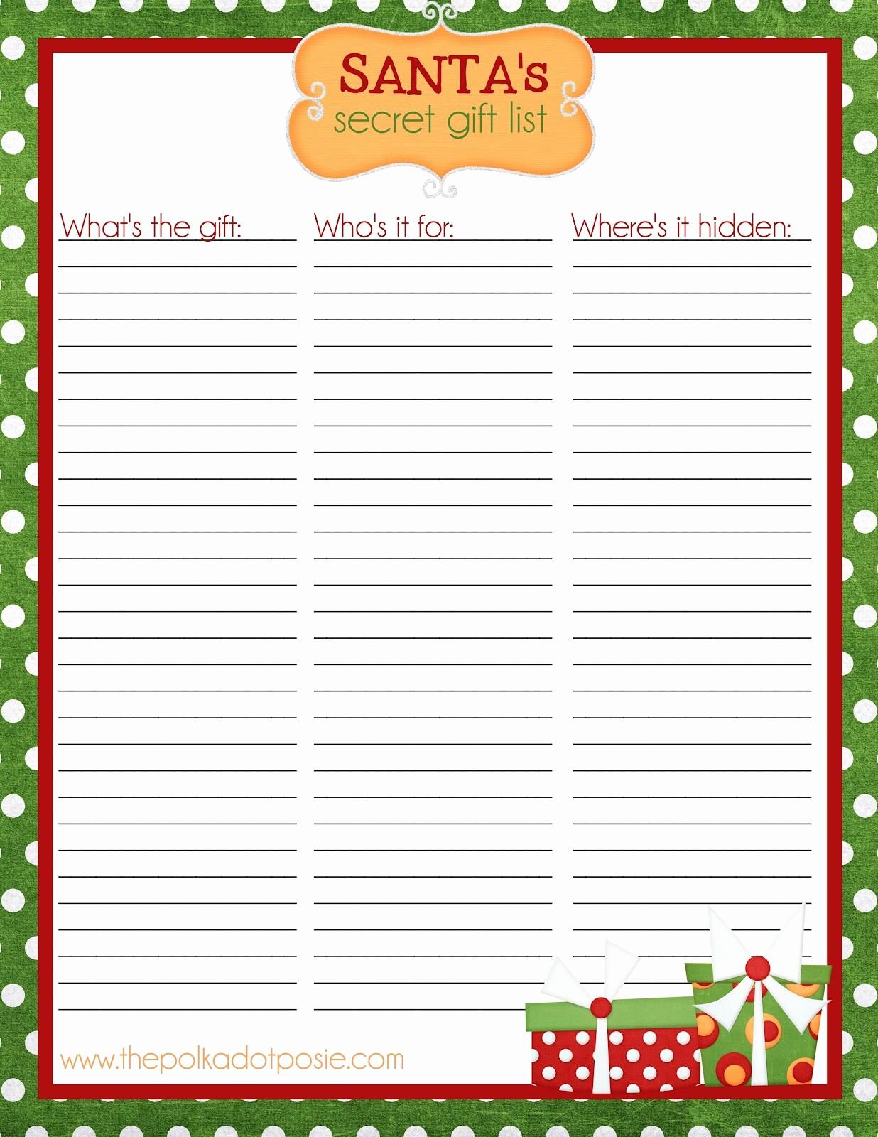 Secret Santa Sign Up List Beautiful 7 Best Of Master Printable List Christmas