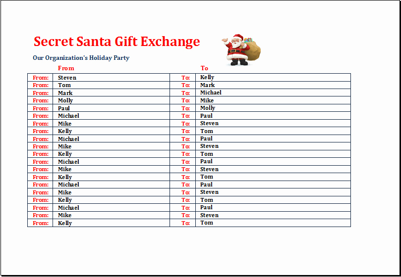Secret Santa Sign Up List Luxury Secret Santa Gift Exchange List Template