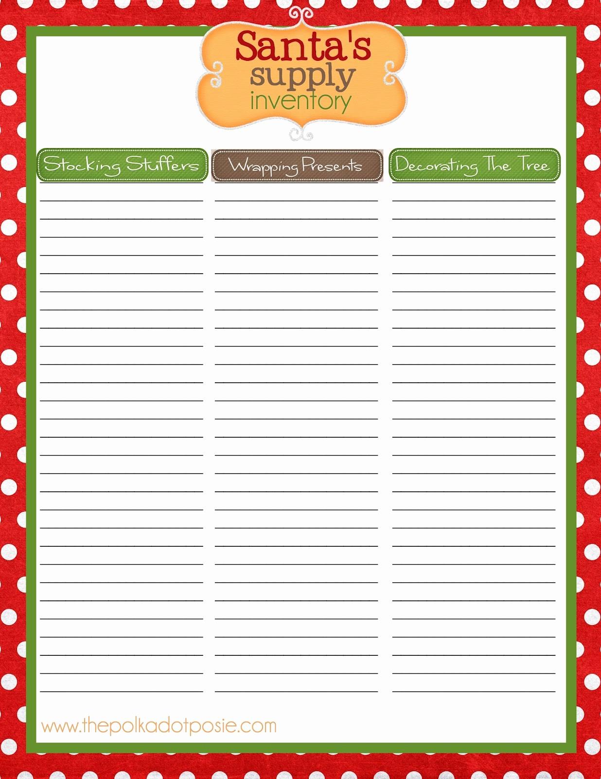 Secret Santa Sign Up List New Christmas List Templates Portablegasgrillweber