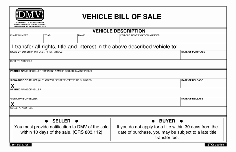 Sell Car Bill Of Sale Elegant Free oregon Dmv Bill Of Sale form Download Pdf