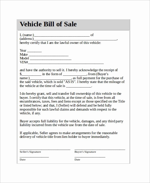 Sell Car Bill Of Sale Unique Vehicle Bill Of Sale Template 14 Free Word Pdf