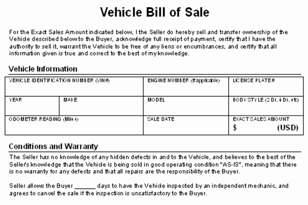 Selling Car Bill Of Sale Awesome How to Write A Contract for Selling Your Car