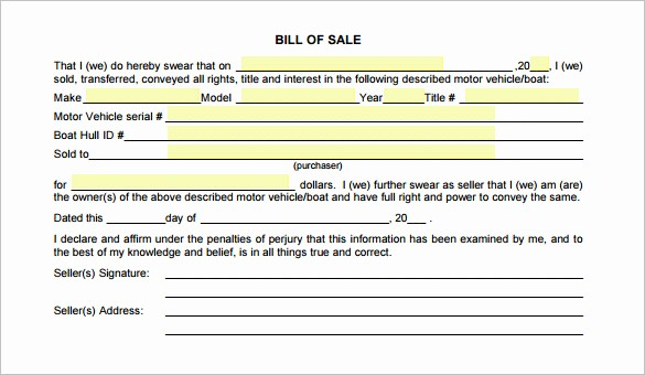 Selling Car Bill Of Sale Fresh 8 Auto Bill Of Sale Doc Pdf