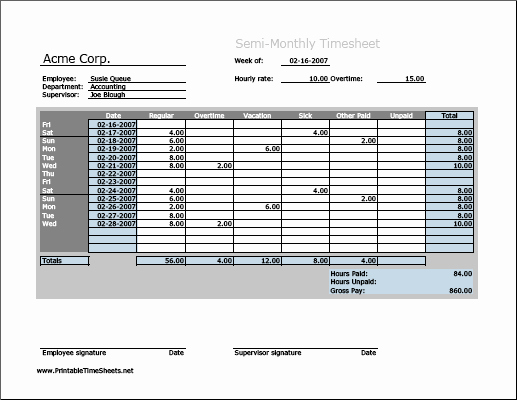 Semi Monthly Timesheet Template Excel Awesome 9 Monthly Timesheet Templates Excel Templates