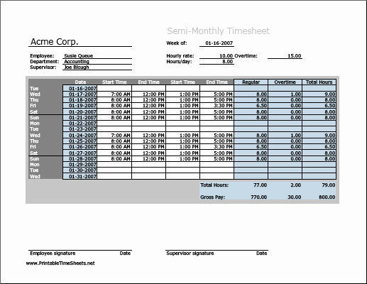 Semi Monthly Timesheet Template Excel Awesome Semi Monthly Timesheet Horizontal orientation with