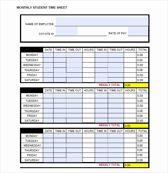 Semi Monthly Timesheet Template Excel Beautiful 11 Monthly Timesheet Templates Free Sample Example format