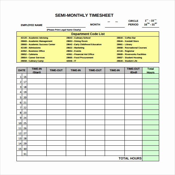 Semi Monthly Timesheet Template Excel Fresh 22 Sample Monthly Timesheet Templates to Download for Free