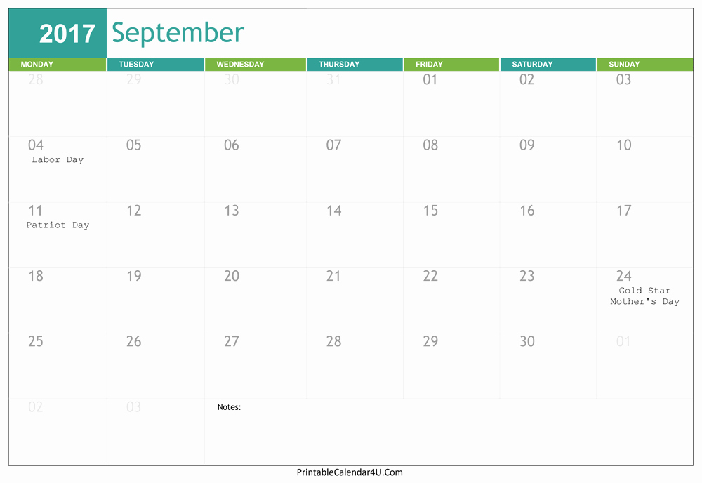 September 2017 Printable Calendar Word Awesome Editable September 2017 Calendar Word Pdf