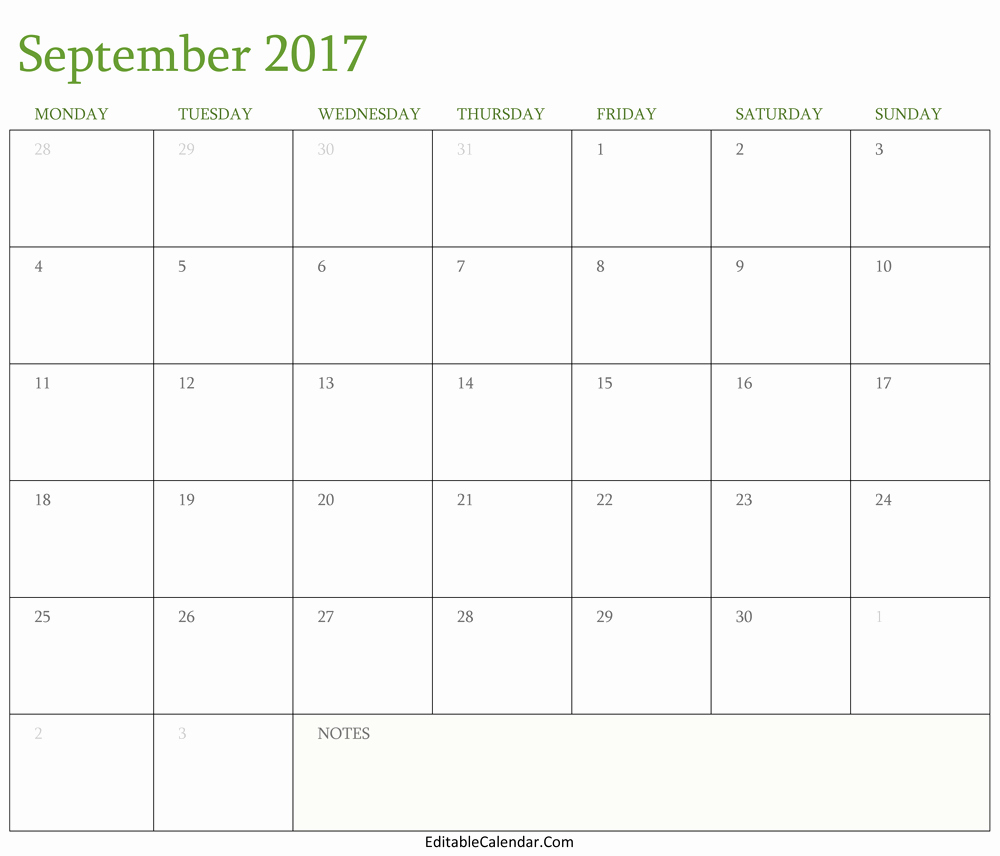 September 2017 Printable Calendar Word Awesome September 2016 Calendar Printable with Holidays Pdf Word