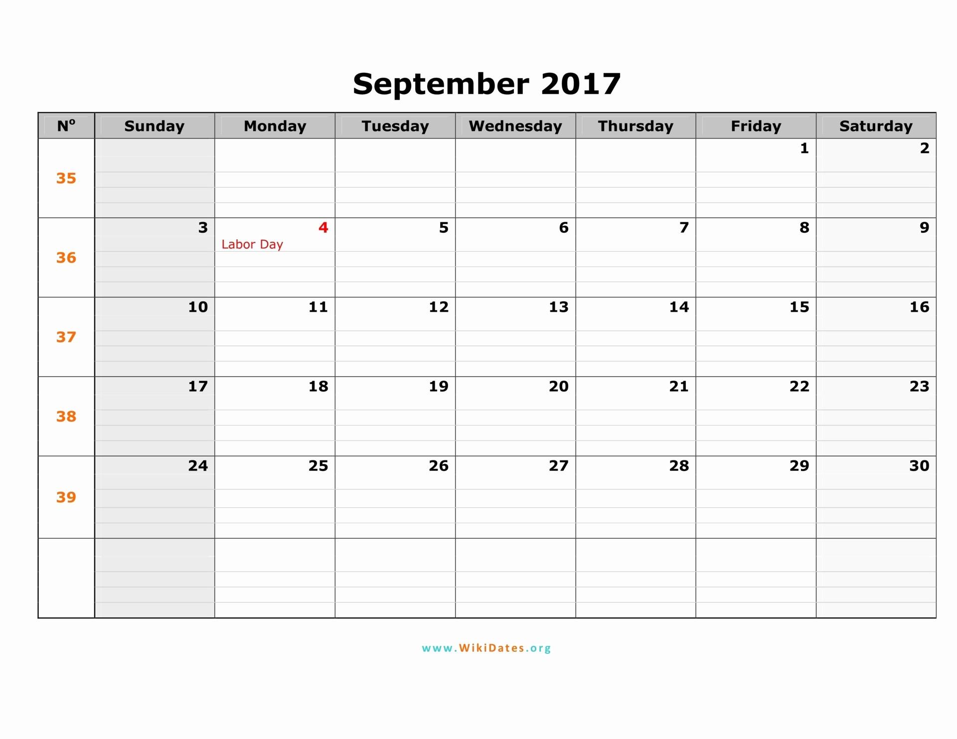 September 2017 Printable Calendar Word Awesome September 2017 Calendar
