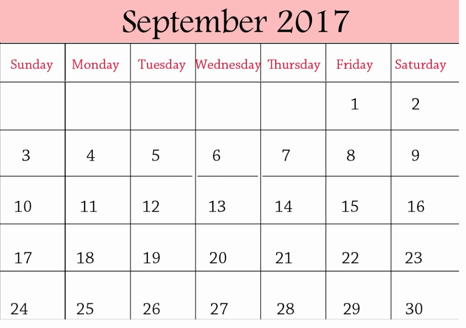 September 2017 Printable Calendar Word Awesome September 2017 Printable Blank Calendar