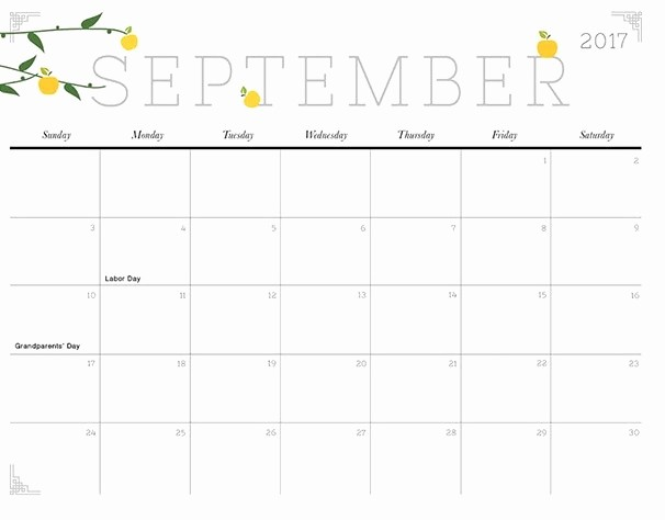 September 2017 Printable Calendar Word Beautiful September 2017 Calendar Cute