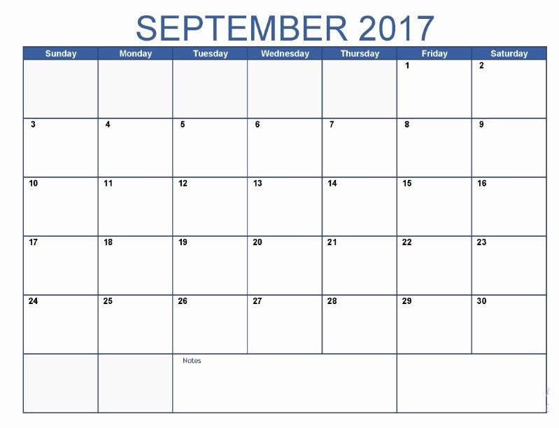 September 2017 Printable Calendar Word Beautiful September 2017 Printable Blank Calendar