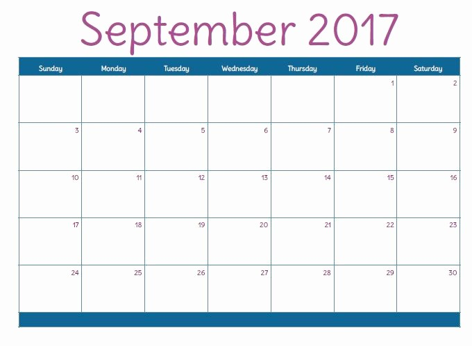 September 2017 Printable Calendar Word Beautiful September 2017 Printable Calendar Template Holidays
