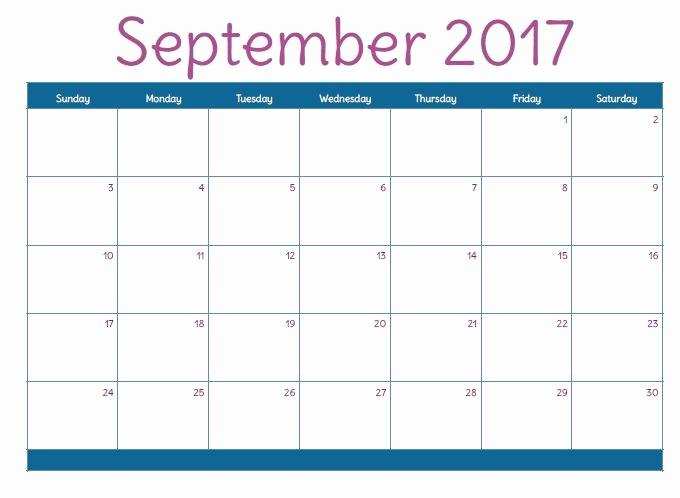 September 2017 Printable Calendar Word Beautiful September 2017 Printable Calendar Template Holidays