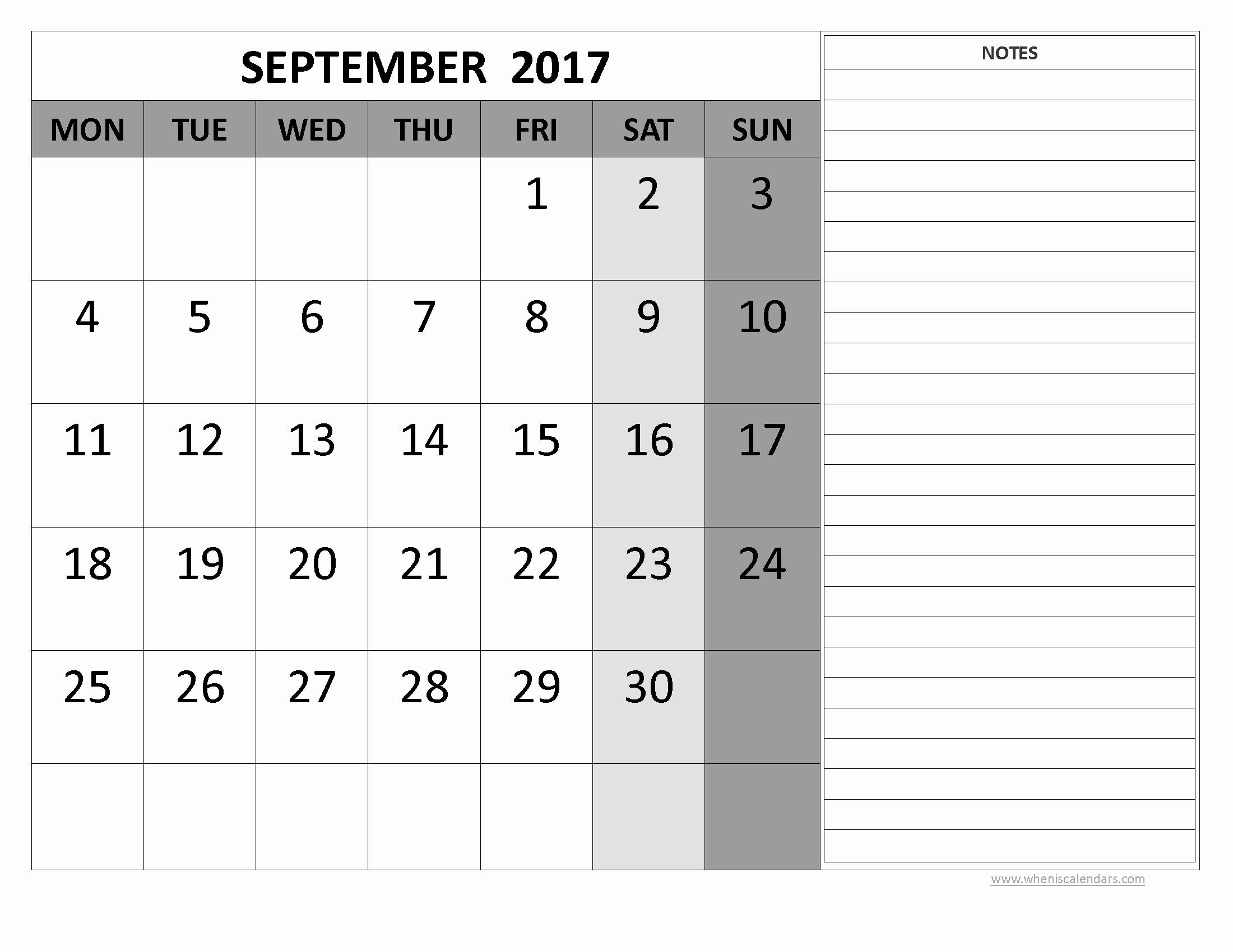 September 2017 Printable Calendar Word Best Of September 2017 Calendar Word
