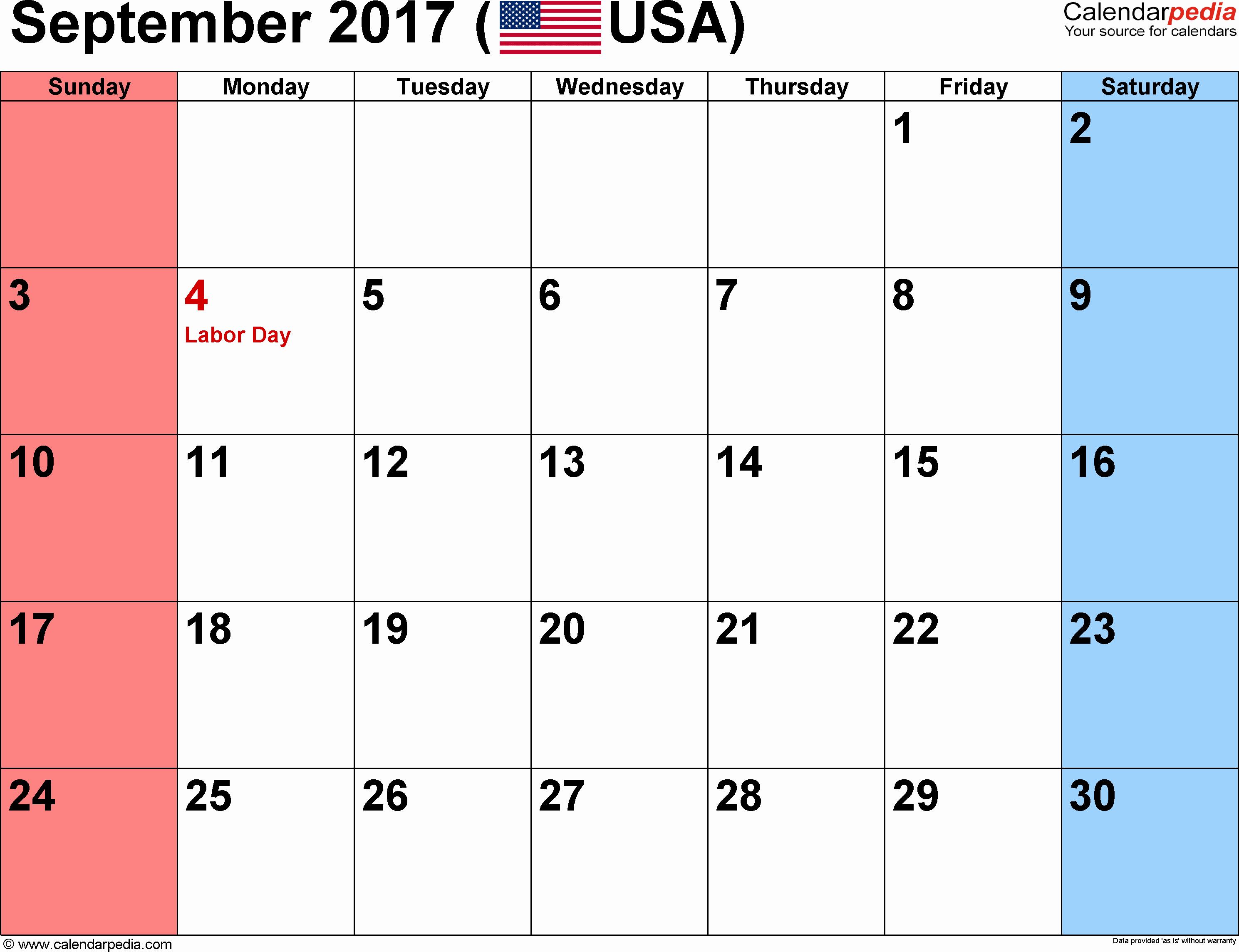 September 2017 Printable Calendar Word Best Of September 2017 Calendars for Word Excel & Pdf